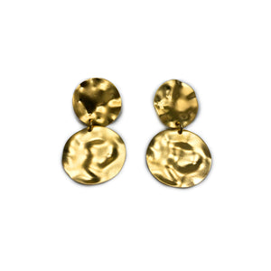 Tracy - Modern 24K gold small highly textured double circle dangle earrings