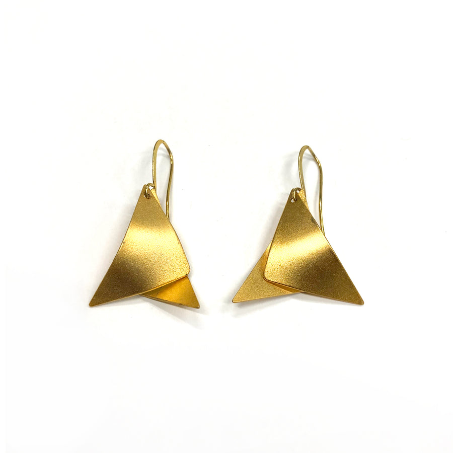 Martha - Dainty 24K gold small triangular dangle earrings