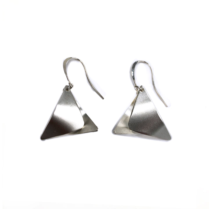 Martha - Dainty sterling silver small triangular dangle earrings
