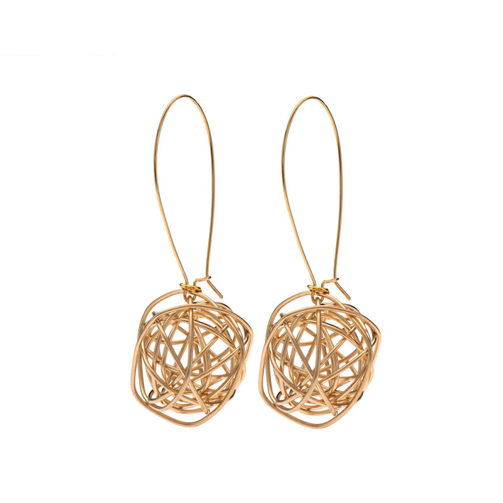 Ariana 24K Gold wire ball dangle earrings.