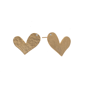Ella - Sweet 24K gold heart stud earrings