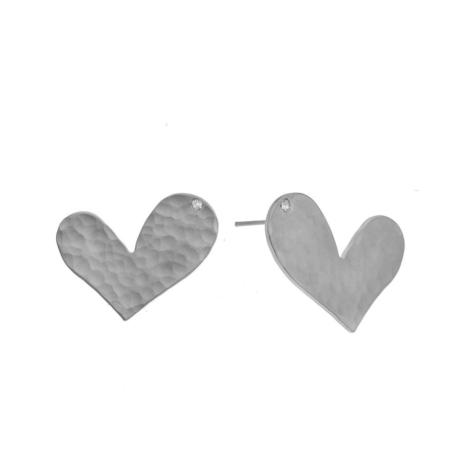 Ella - Sweet sterling silver heart stud earrings