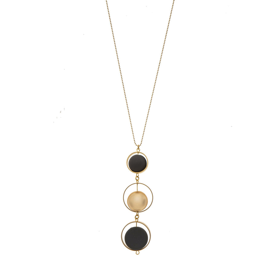 Evelyn Long black and 24K gold pendant necklace