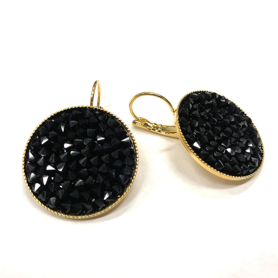 Grace 24K gold and black Swarovski crystal pave earrings
