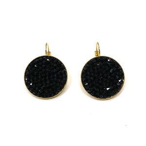 Grace - 24K gold and black Swarovski crystal pave earrings
