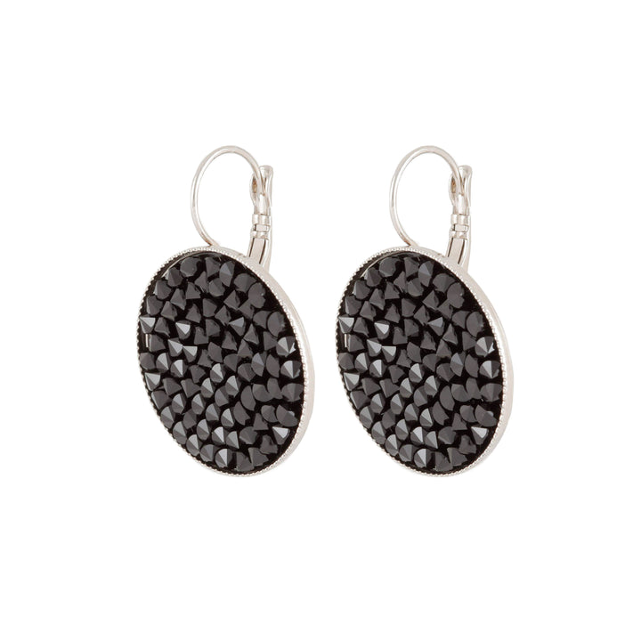 Grace - Sterling silver and black Swarovski crystal pave earrings