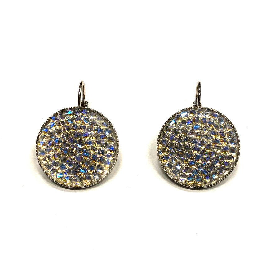 Grace 24K gold champagne Swarovski crystal pave earrings