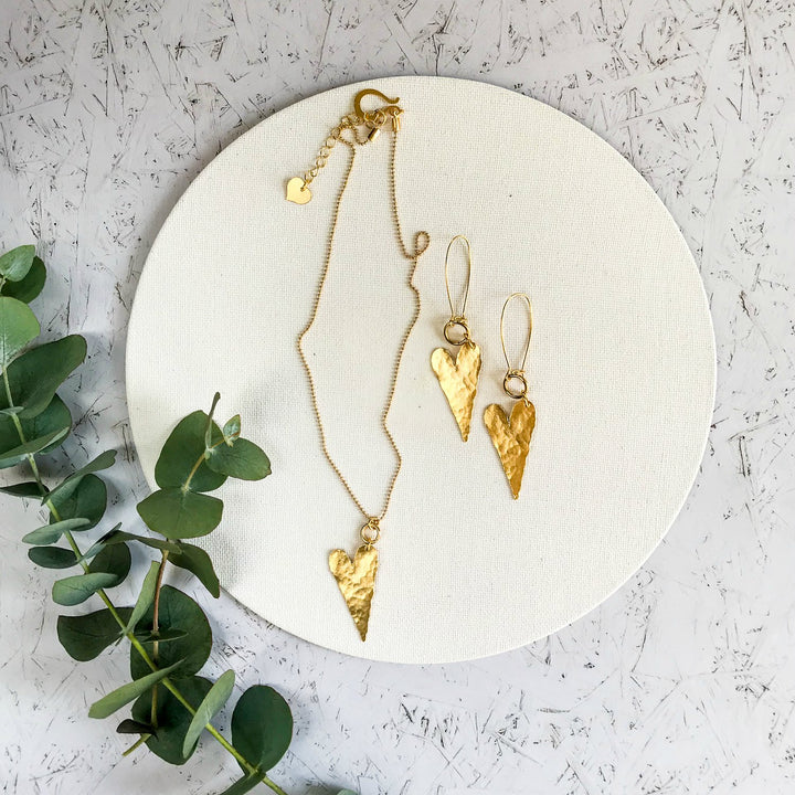 Alma gold hearts necklace and earrings