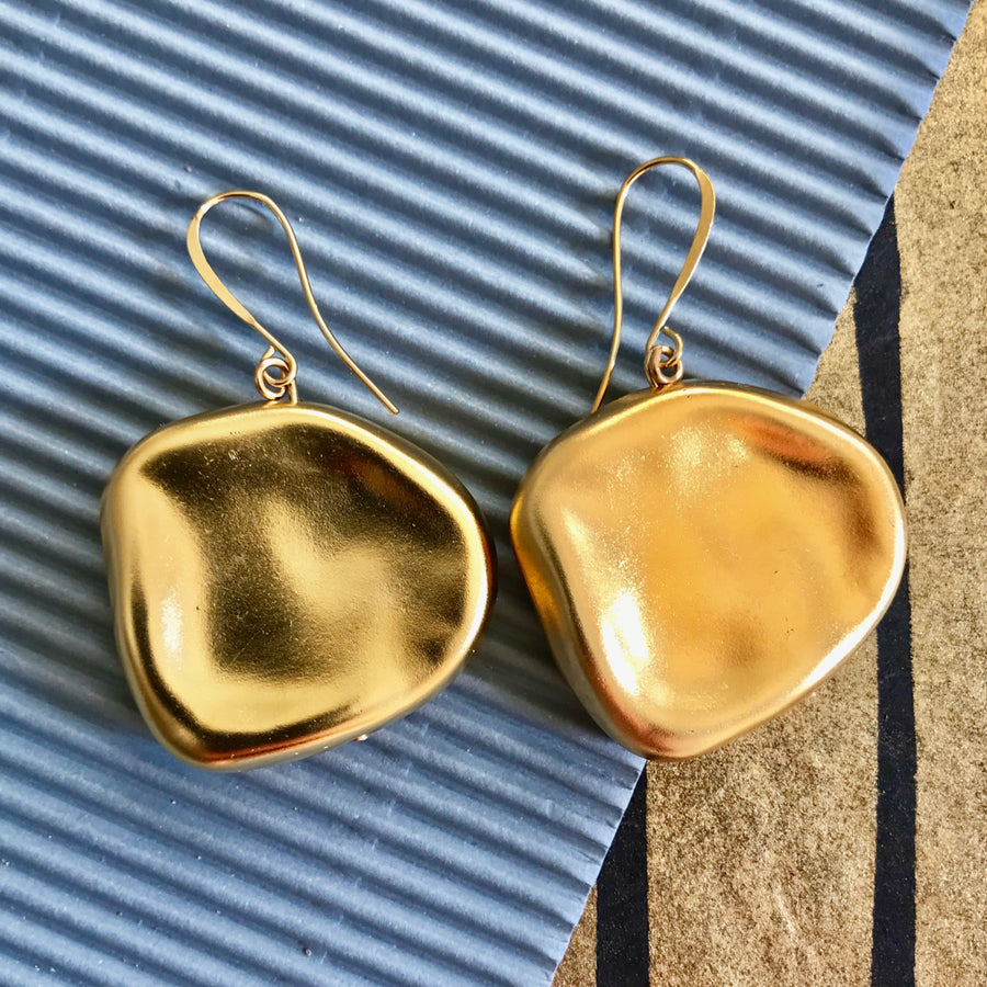 Zoey -  24K Gold Petal Shaped Dangle Earrings
