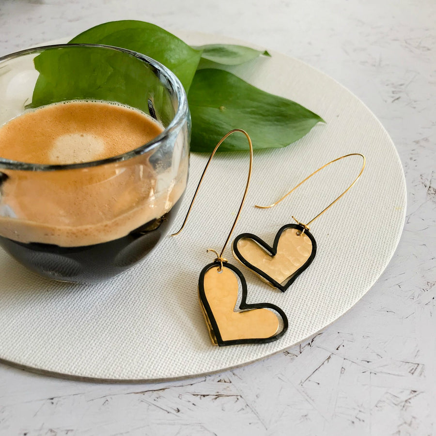 Avery - Dainty gold & black heart earrings