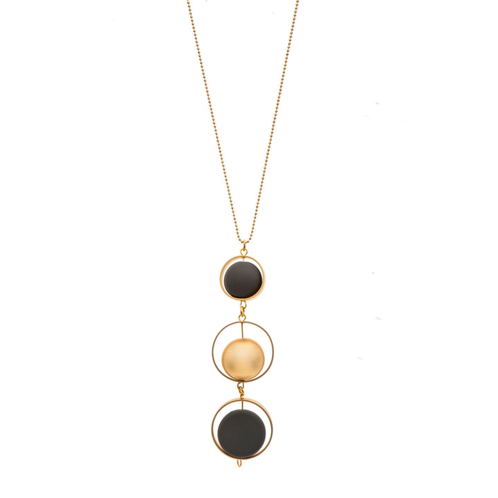 Evelyn Long grey and 24K gold pendant necklace