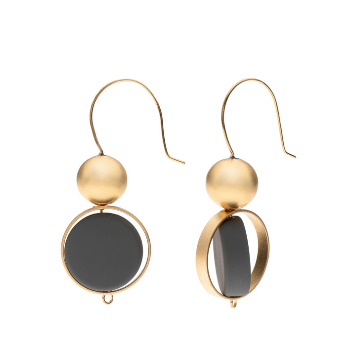 Alice - Elegant grey & 24K gold earrings