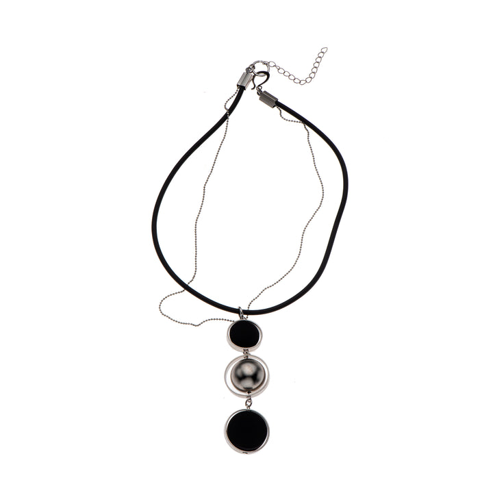 Scarlett - Black & silver pendant necklace