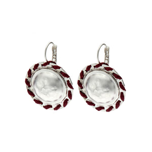 Amelia Round silver and burgundy earrings.