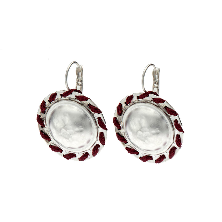 Amelia - Round silver and burgundy earrings