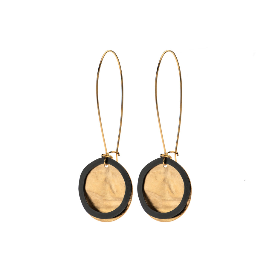 Sonya - Dainty 24K gold & black circle earrings