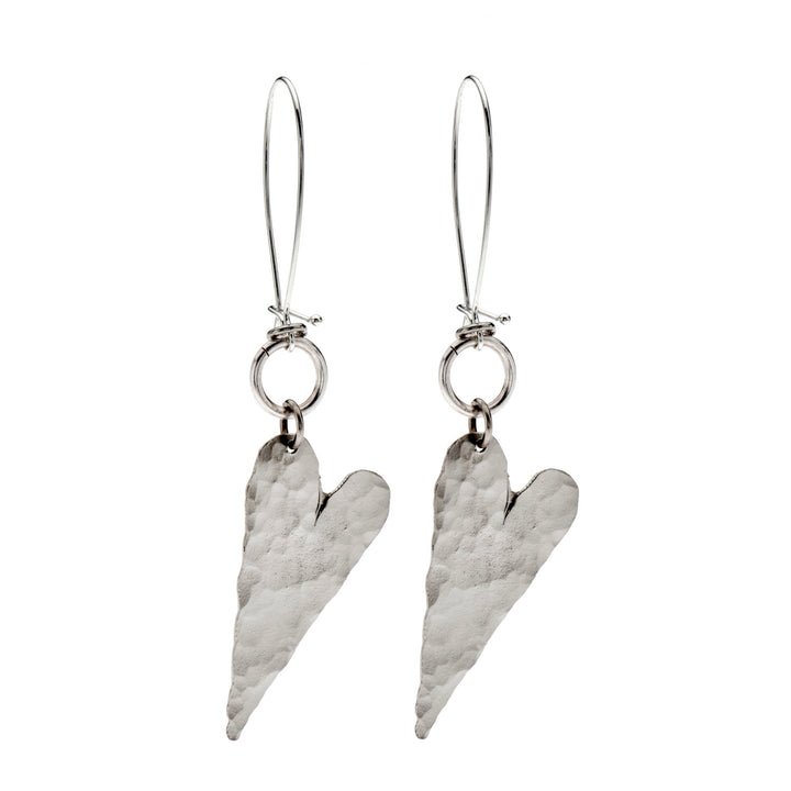 Riley -  Delicate heart hammered dangle earrings