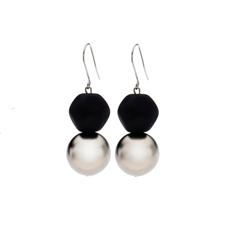 Madison - Black and silver two-tier bead earrings