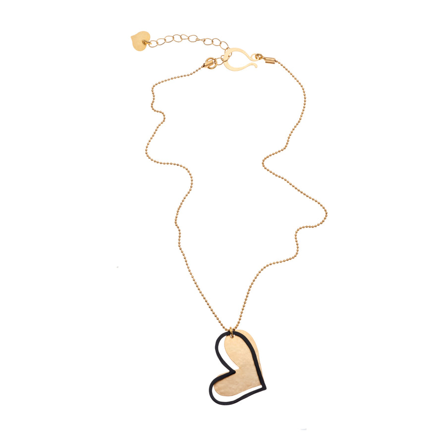 Katherine -  Gold & black heart necklace & earrings