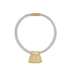 Jessica - Grey cord & 24K gold pendant necklace