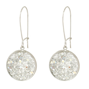 Mia - Sterling silver and clear Swarovski crystal pave disc earrings