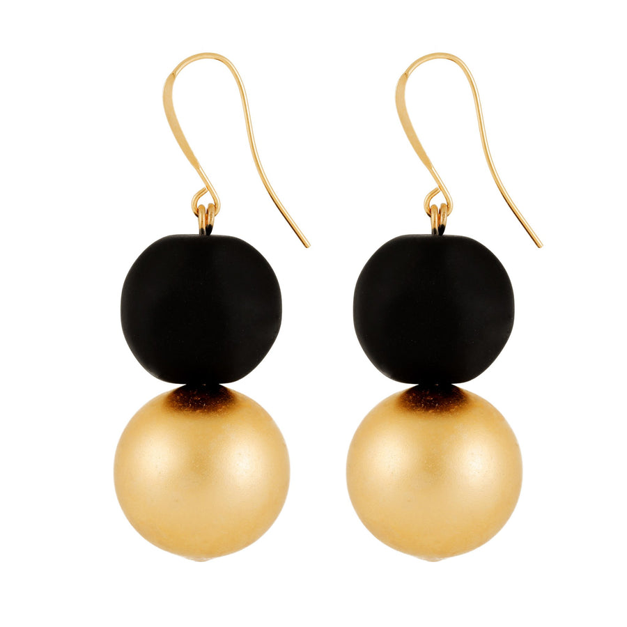 Madison - Matte black & 24K gold double bead earrings
