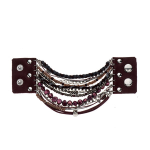 Maria - Burgundy & sterling silver multi-layer bead bracelet