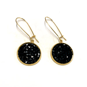 Mia - Sterling silver and black Swarovski crystal pave disc earrings