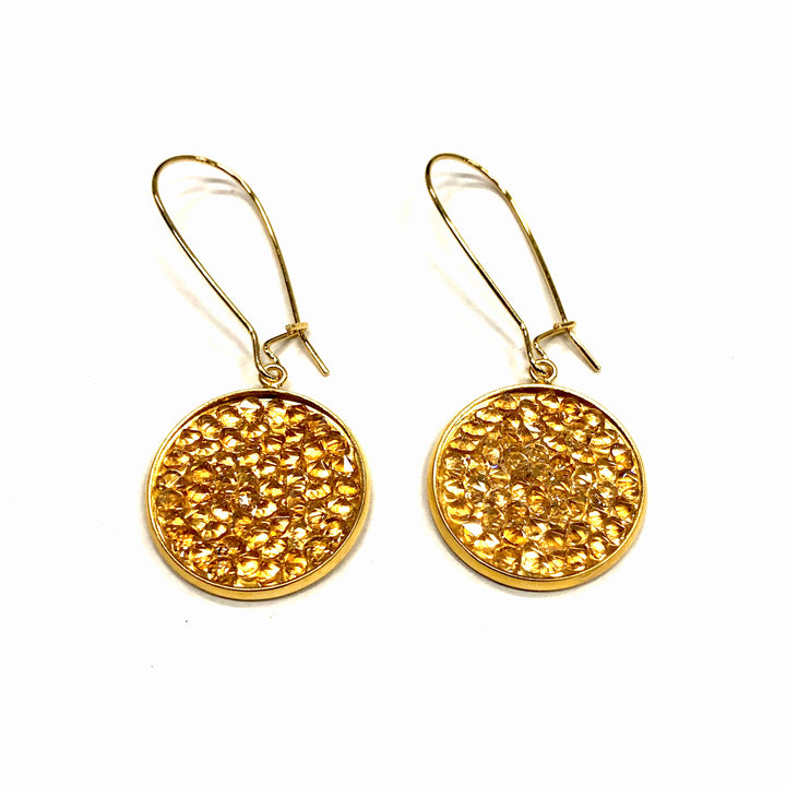 Mia - 24K gold and champagne Swarovski crystal pave disc earrings