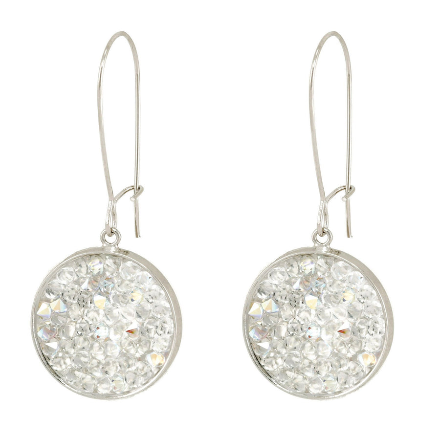 Mia- 24K gold and black Swarovski crystal pave disc earrings