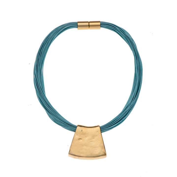 Jessica - Turquoise cord & 24K gold pendant necklace