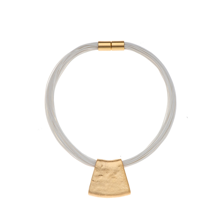 Jessica - White cord & 24K gold pendant necklace