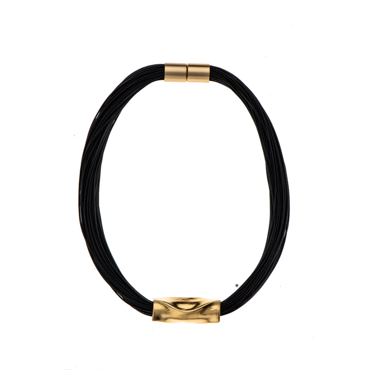 Shirley - Black cord & 24K gold detail necklace
