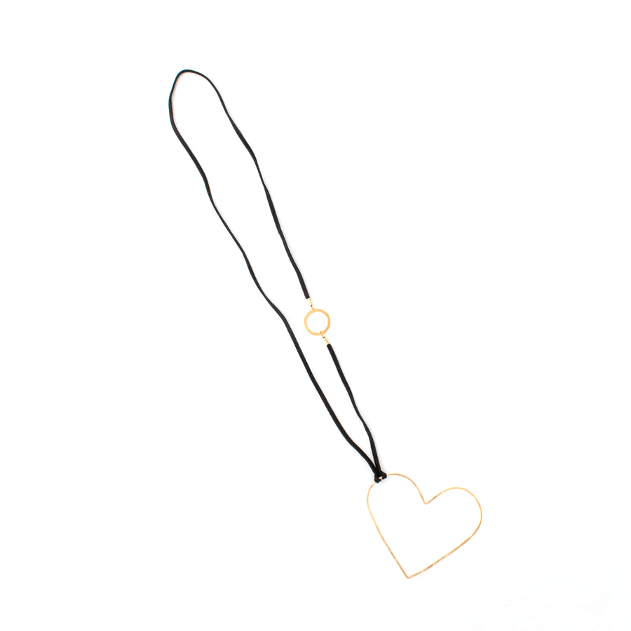 Karen - Open heart 24K gold pendant necklace
