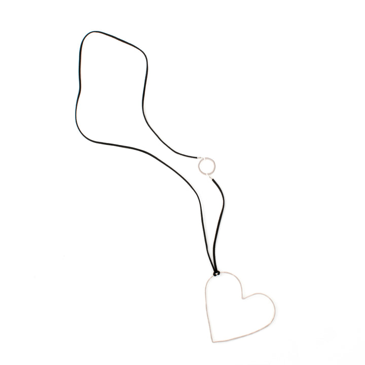 Karen - Open heart sterling silver pendant necklace