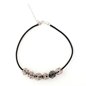Nancy - Modern silver wire balls collar necklace