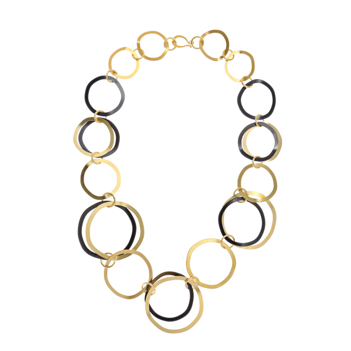 Camila 24K gold and black hoop necklace