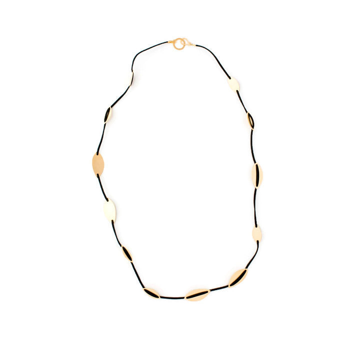 Naomi - Long cord & gold elements necklace
