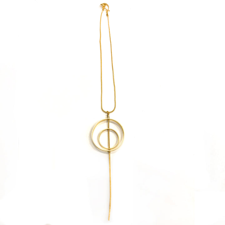 Jane - 24K gold, medium-sized, double circle outline pendant necklace