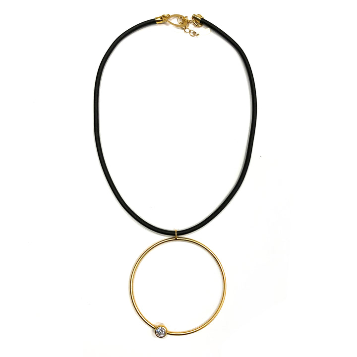 Sally - Dazzling 24K gold, short pendant necklace, with large hoop and Swarovski crystal.