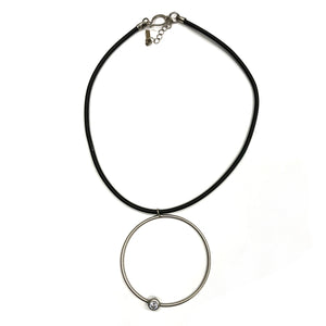 Sally- Dazzling sterling silver, short pendant necklace, with large hoop and Swarovski crystal
