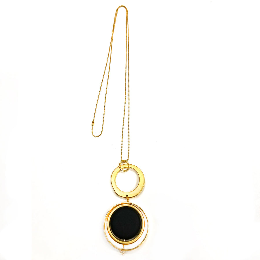 Lorin - High-Style 24K gold long geometric pendant necklace with black flattened bead