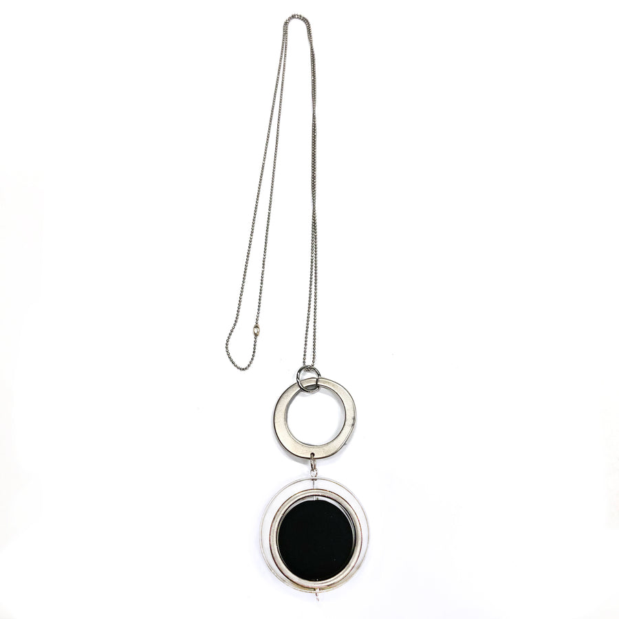 Lorin -  High-Style sterling silver long geometric pendant necklace with black flattened bead