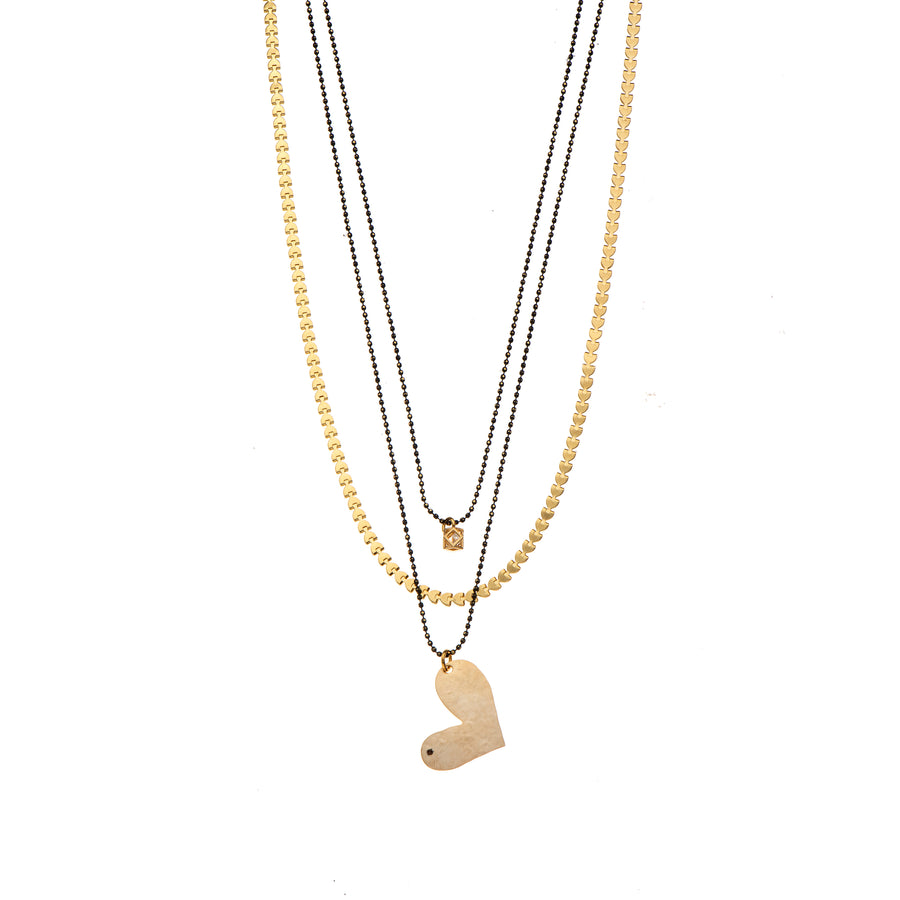 Maxine - Multi-layer black & gold heart necklace