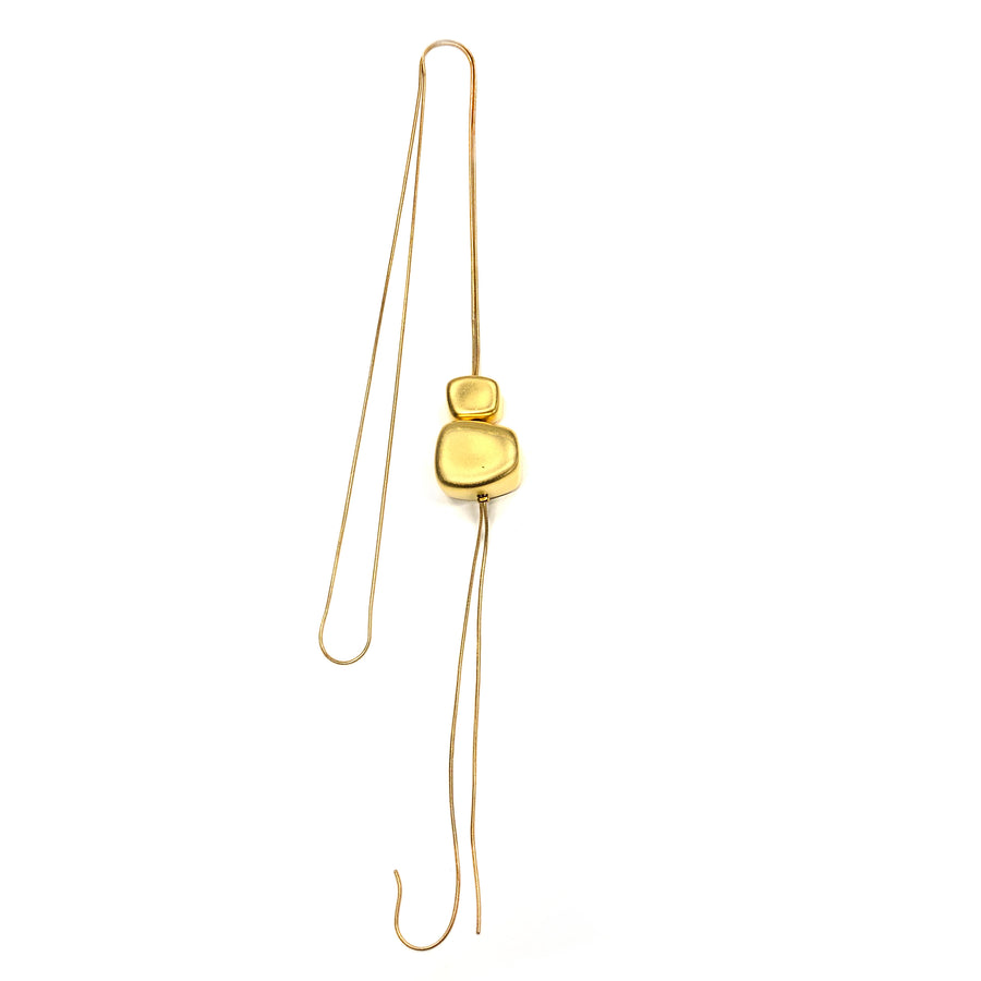 Margerie - Modern 24K gold, long thin cord, double stacked pendant necklace