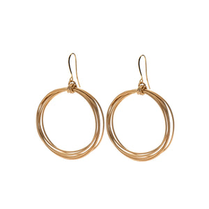 Natalie - Modern 24K gold wire hoop earrings