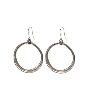 Natalie - Modern sterling silver wire hoop earrings