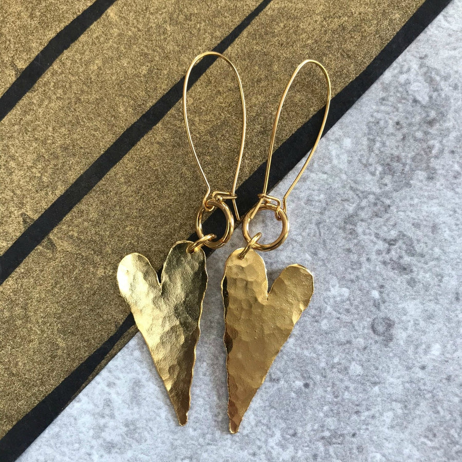 Riley -  Delicate 24K gold heart hammered dangle earrings