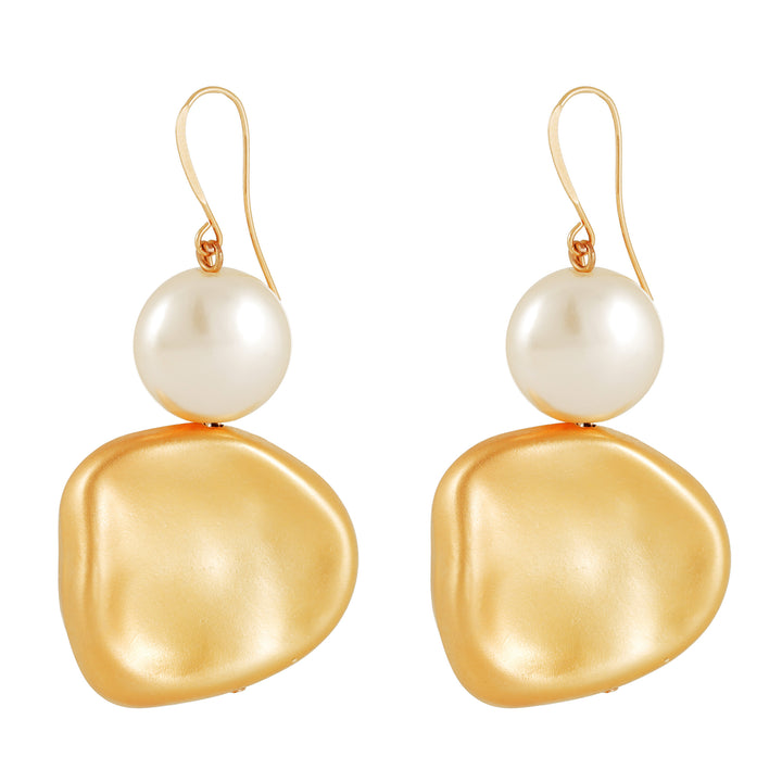Anna - Shimmering white & gold earrings