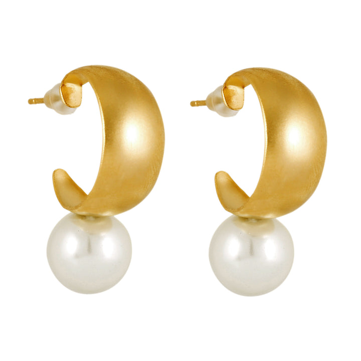 Faith - Retro gold & pearl dangle earrings